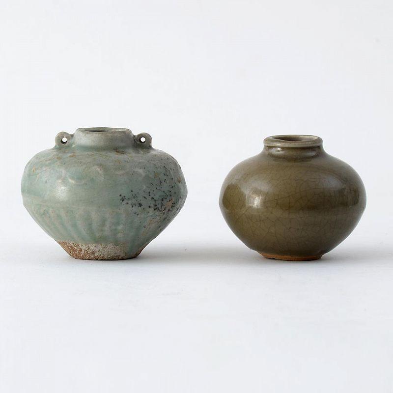 Two Chinese Longquan Celadon Ceramic Jarlets, Yuan / Ming.