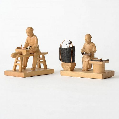 Two Chinese Tushanwan Wood Figurines of Shoemaker Artisans, c. 1930.