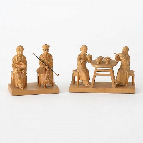 Two Chinese Tushanwan Wood Figurines of Married Couple, c. 1930.