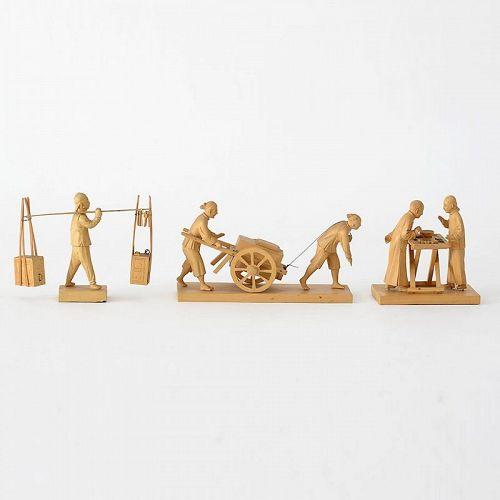 Three Chinese Tushanwan Wood Figurines of Coolies & Gambler, c. 1930.