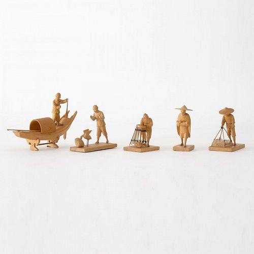Five Chinese Tushanwan Wood Figurines of Fishers, c. 1930.