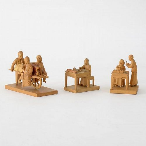Five Chinese Tushanwan Wood Figurines of Doctor, Scholar etc, c. 1930.