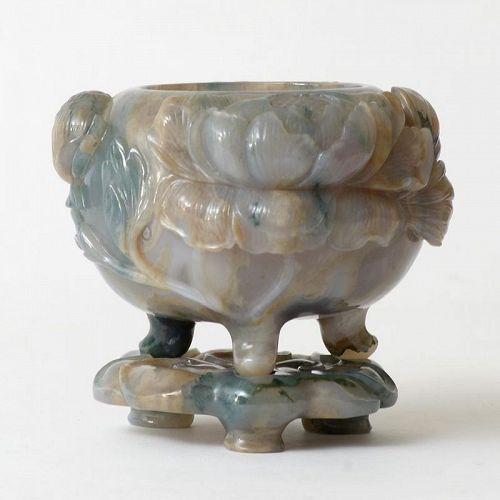 Chinese Carved Agate Tripod Censer with Stand, 20th C.