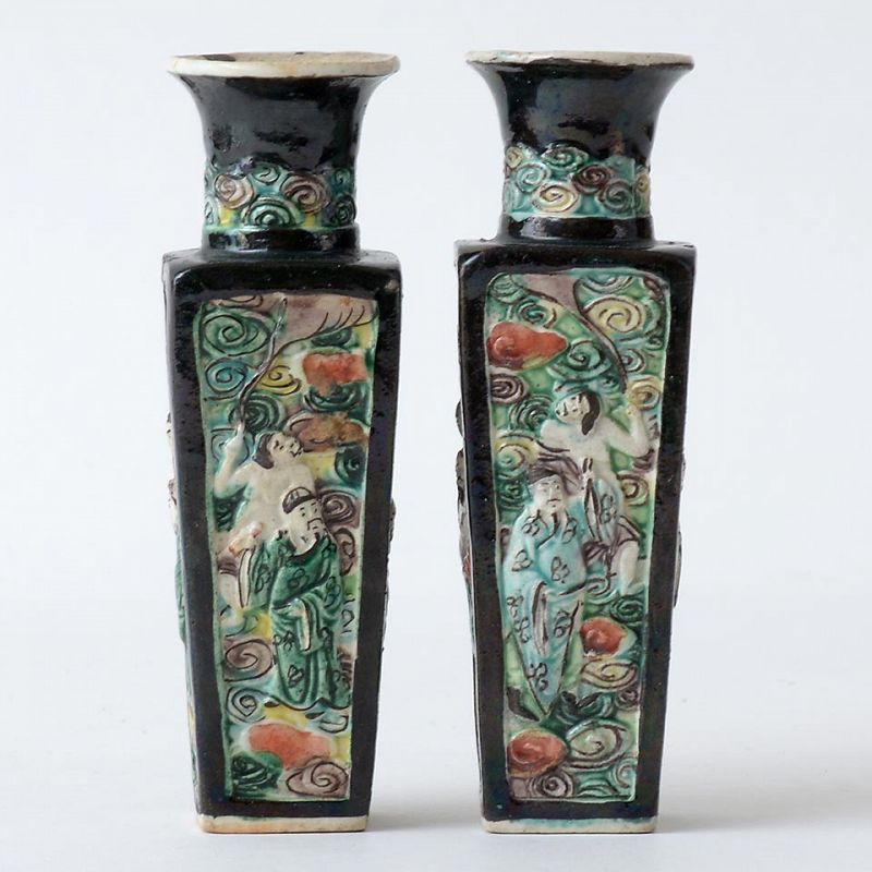 Pair of Chinese Moulded Miniature Porcelain Vases w. Immortals, 19th C