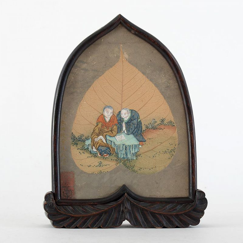 Chinese Bodhi Tree Leaf Buddhist Painting as Table Screen, 19th C.