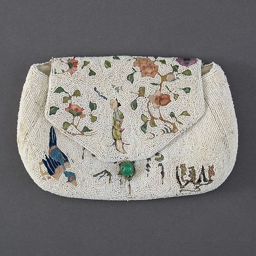 Antique Beaded Evening Purse with Chinese Silk Embroidery.
