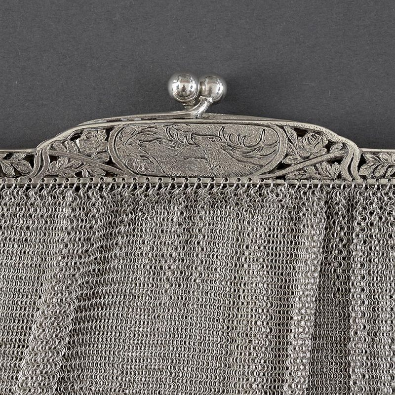 Heavy German Silver Mesh Evening Purse with Deers, c. 1910.
