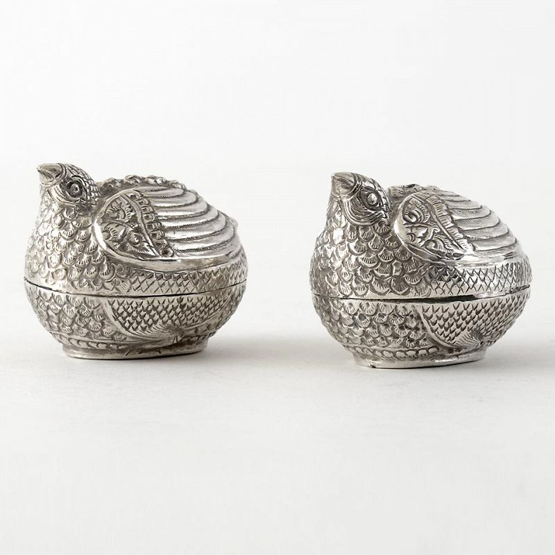 Two Old Cambodian Figural Silver Betel Boxes in Quail Shape, c. 1950.