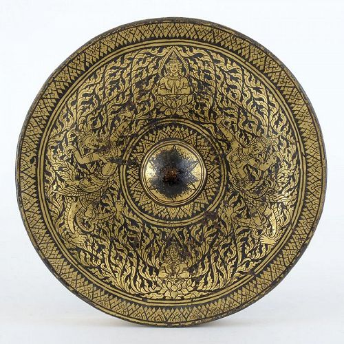 Rare Antique Thai Lacquered & Gilt Bronze Gong.