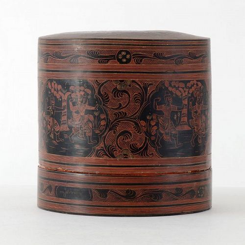 "Antique Burmese Yun Lacquer Betel Box w. Court Scenes, ""kun it"" No. 2."