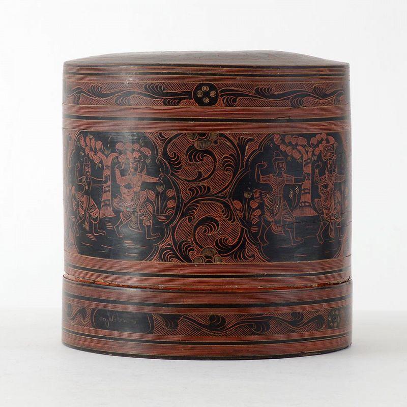 """Antique Burmese Yun Lacquer Betel Box w. Court Scenes, """"kun it"""" No. 2."""
