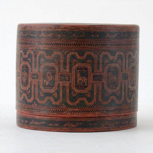 "Antique Burmese Yun Lacquer Betel Box w. Zodiac, ""kun it"" No. 3."