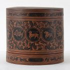 "Antique Burmese Yun Lacquer Betel Box w. Zodiac Signs, ""kun it"" No. 4."