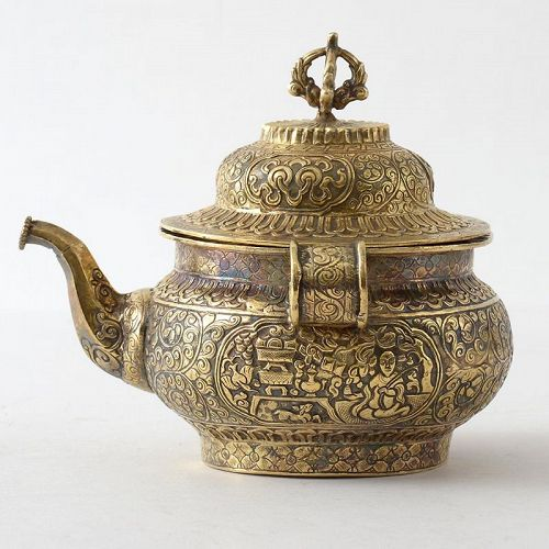 A Small Tibetan Gilt Silver Ritual Ewer with Lid, 20th C.