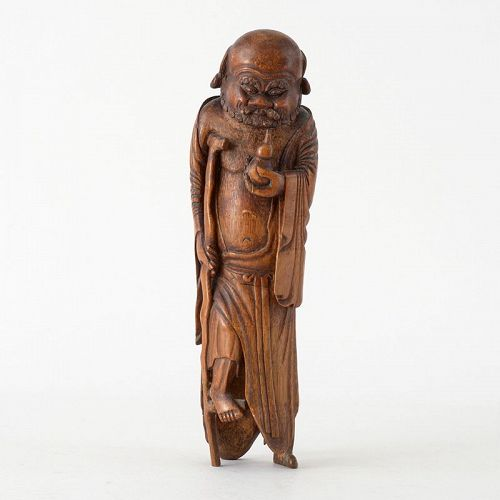 Large Antique Chinese Bamboo Carving of Immortal Li Tieguai, c. 1900.