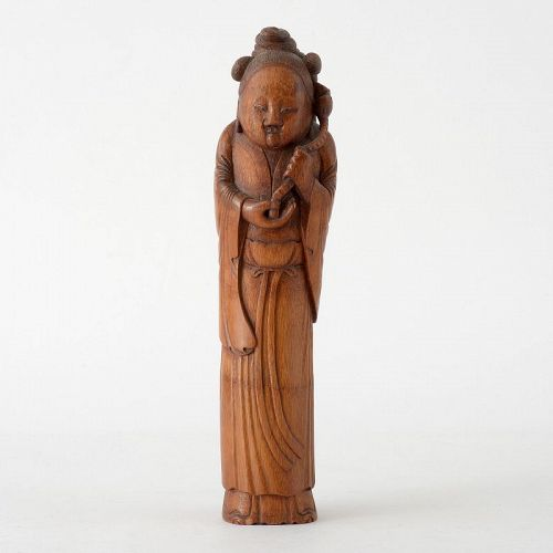 Large Antique Chinese Bamboo Carving of Immortal He Xiangu, c. 1900.