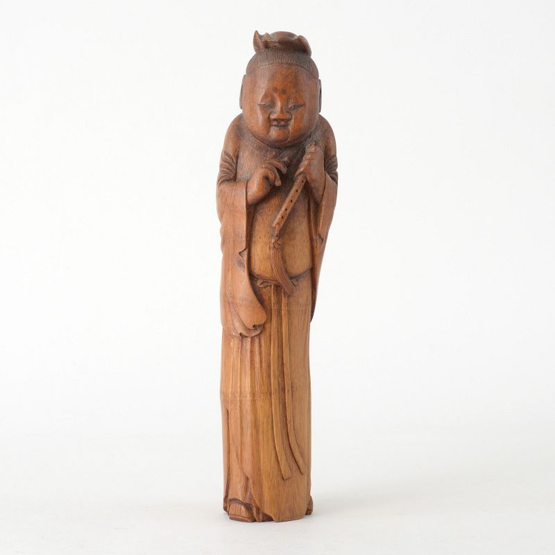 Large Antique Chinese Bamboo Carving of Immortal Han Xiangzi, c. 1900.