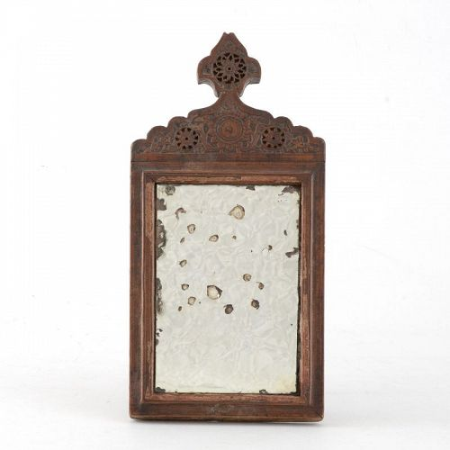 Small Antique Persian Carved Wooden Mirror, Qajar.