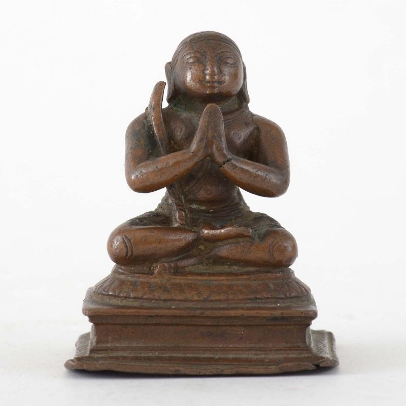 Antique Indian Miniature Bronze Deity of Appar or Ramanuja, 18th.