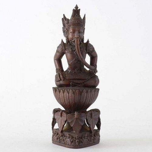 Old Balinese Woodcarving Statue of Lord Ganesha, c. 1940.