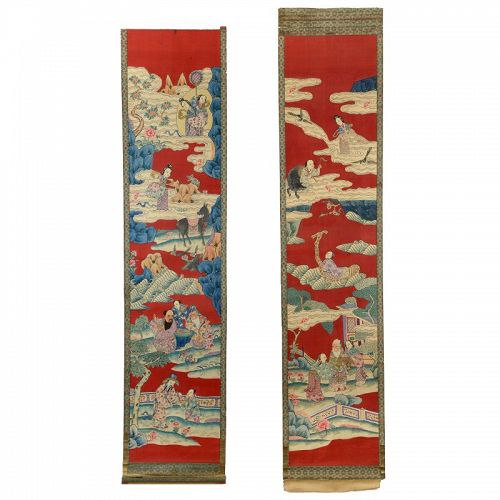 A Pair Chinese Silk Kesi Tapestry Scrolls with Daoist Pantheon, Qing.
