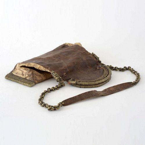 "Antique Batak Shaman's Leather & Brass Bag ""Salipi"", Sumatra."