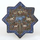 Antique Persian Molded Pottery Tile w. Animals, Qajar.
