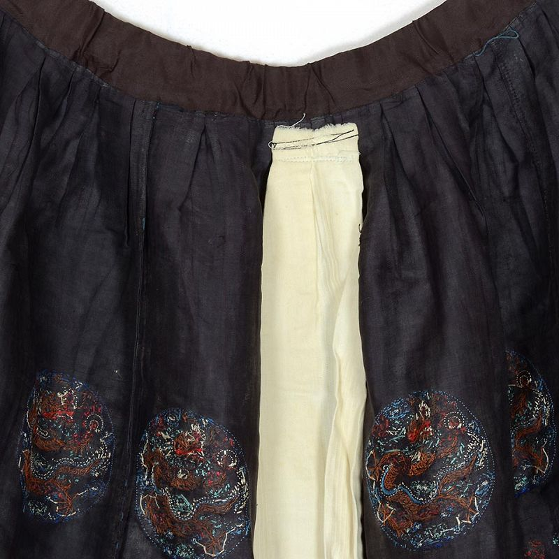 Altered Chinese Embroidered Chao Fu Skirt w. Dragons, late Qing.