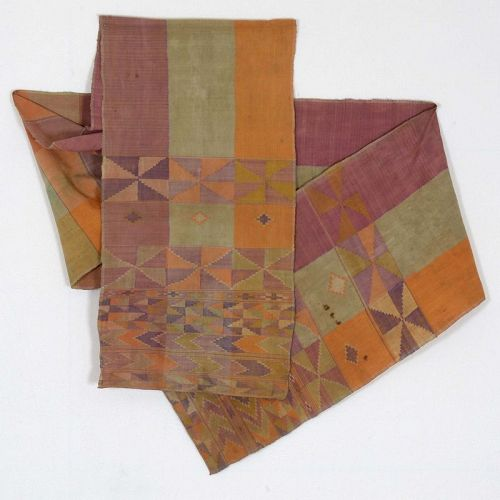 A Tausug Tapestry Silk Sash Textile, Sulu Philippines No. 1.