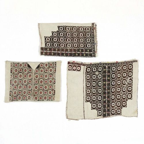 Portions of Antique Embroidered Balkan Linen Costume Dress.