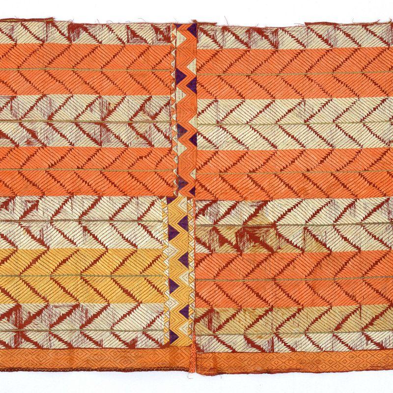 Antique Indian Embroidered Phulkari Bagh Silk Textile Fragment, Punjab