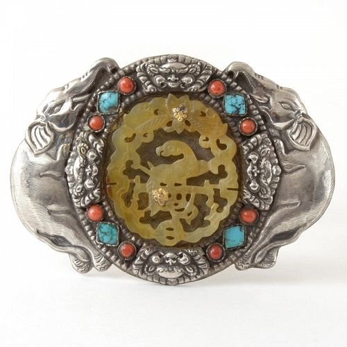 Chinese / Mongol Assembled Silver Belt Buckle w. Elephants and Jade.