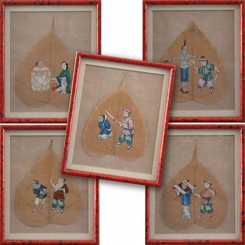 Five Chinese School Paintings w. Torture Scenes on Bodhi Tree Leaves