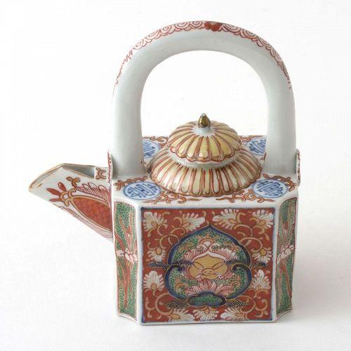 Rare Japanese Edo Period Imari Porcelain Teapot with Hare, 18th C.