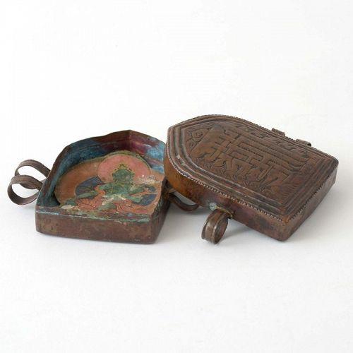 Small Himalayan Copper Gau Prayer Box with Tsakli of Green Tara.