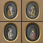 Four Framed Indian Paintings of Mughal Emperors, Murshidabad 19th C.