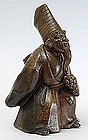 Japanese Bizen Okimono of a Noh Dancer, Meiji.