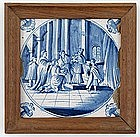 Dutch Delft Tile with Religious Scene, 18th C.