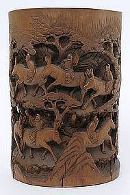 Large Chinese Carved Bamboo Brush pot, 19th C.
