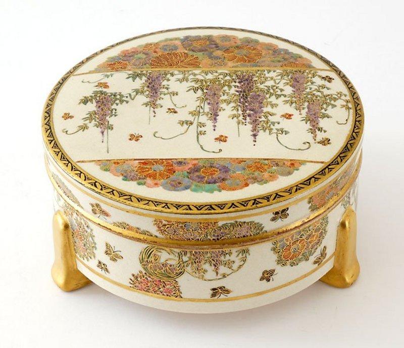 Large Japanese Satsuma Box, Signed, Meiji.