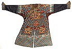 A Brown Chinese Embroidered Dragon Robe, Mid 19th C.