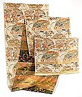 Japanese Silk Brocade Obi with Fans and Ducks, Taisho Meiji.