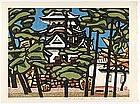 """Woodblock Print """"Matsu to Shiro"""" by Hashimoto Okiie."""