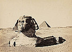Early Albumen Photograph: Great Sphinx, before 1880.