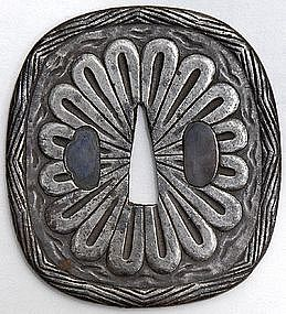 Antique Japanese Iron Tsuba with Chrysanthemum, Edo P.