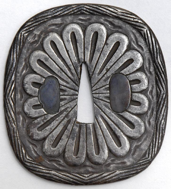 Antique Japanese Iron Tsuba with Chrysanthemum, Edo P.