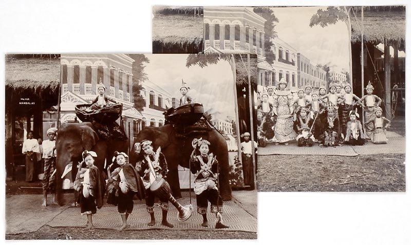 Two Historical Photos of Burmese Dancers, c. 1910.
