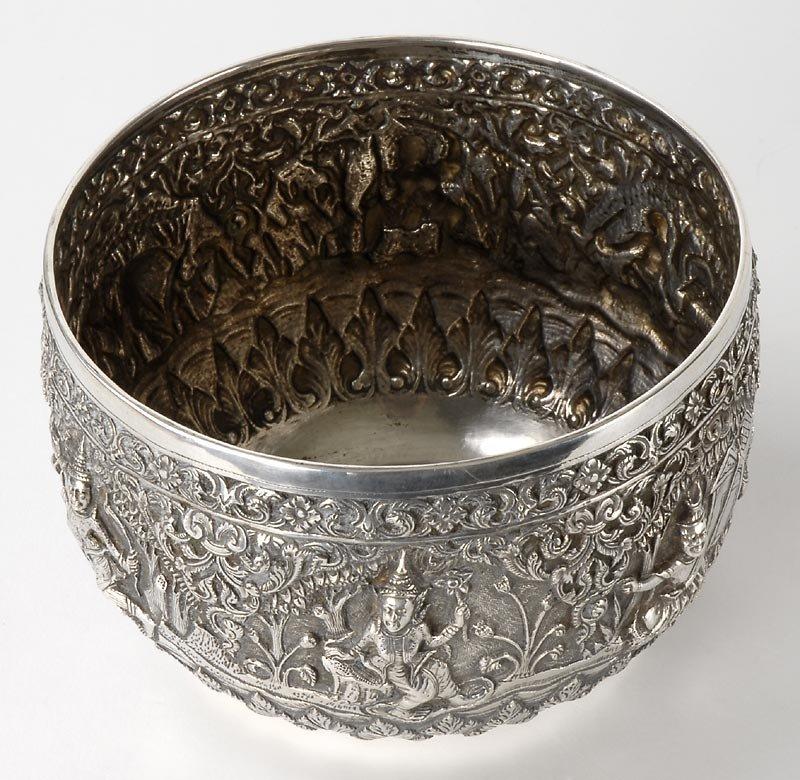 Fine Burmese Ceremonial Repousse Silver Bowl, c. 1900.