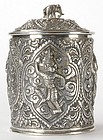 Old Burmese Repousse Silver Box, c. 1920.
