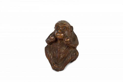 Japanese wooden monkey okimono - Tamon Tô 多門刀
